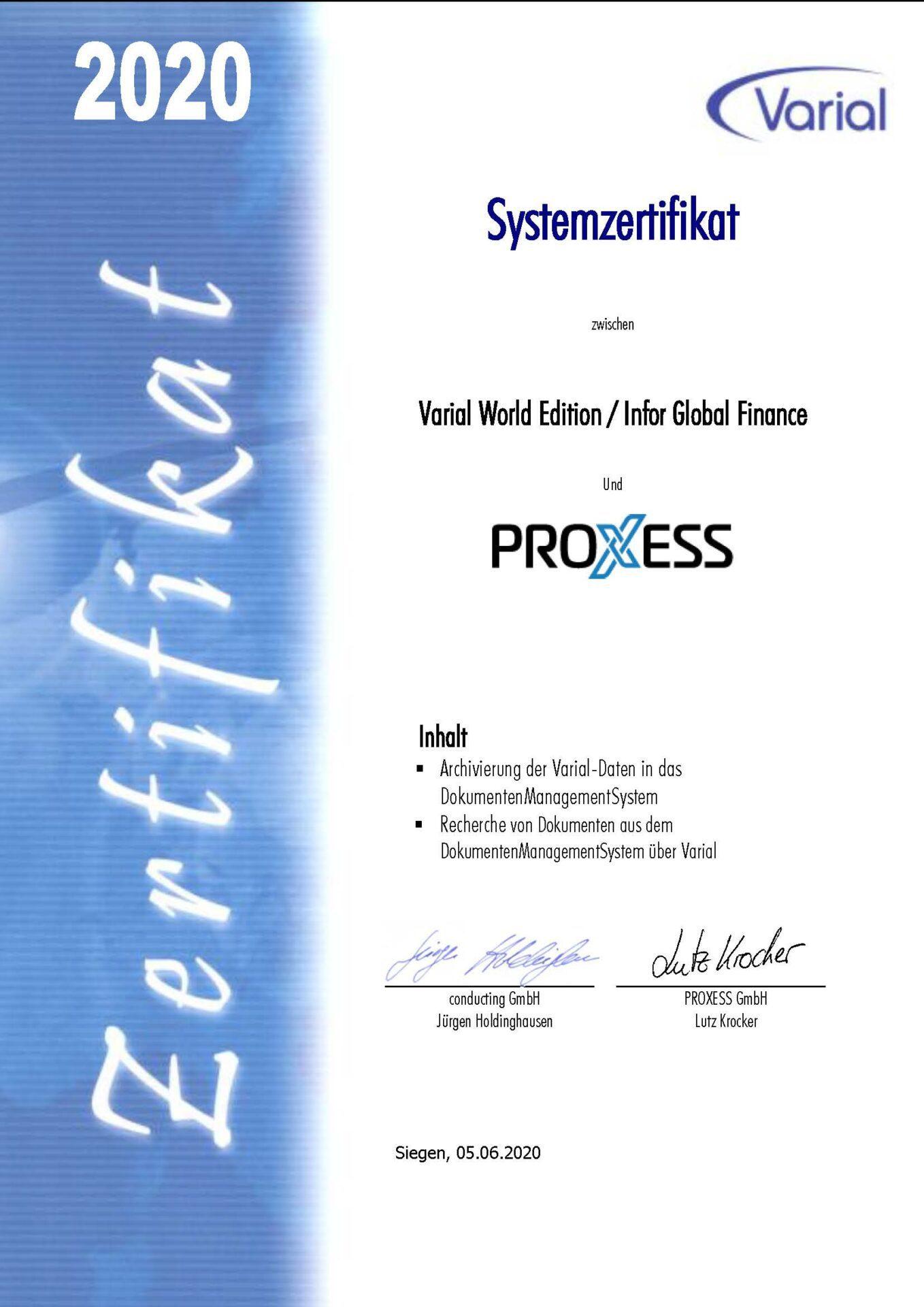 Zertifkat zur Infor /Varial Integration von PROXESS
